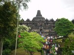 The steps leading to the stupa of Borobudur, the single largest Buddhist monument in the world.