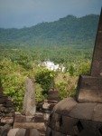 A view of the lands around Borobudur from the upper tiers of the candi.