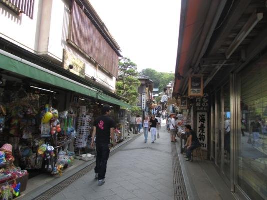 Jalanan di Enoshima kecil-kecil, tidak bisa dilalui kendaraan bermotor, diapit rumah, restoran, toko. Sangat nyaman untuk berjalan-jalan!